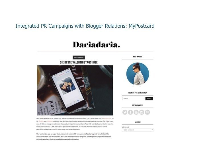 Integrated PR Campaigns with Blogger Relations: My Postcard