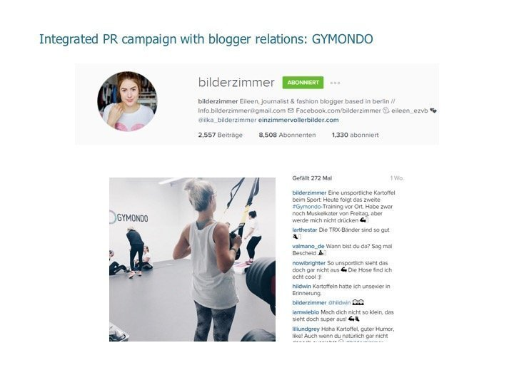 Integrated PR campaign with blogger relations: Gymondo