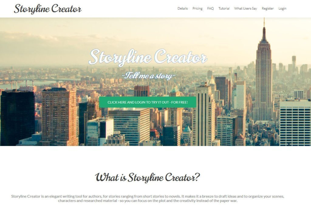 Storyline Creator Website mit Skyline