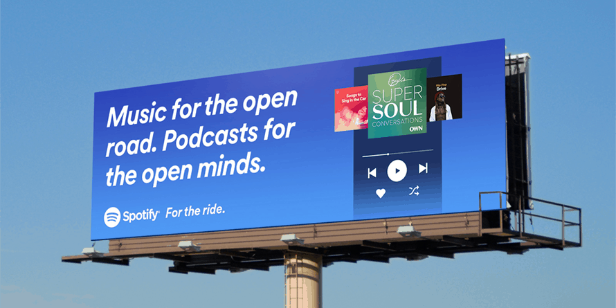 Spotify Plakat Music for the open road. Podcasts for the open minds